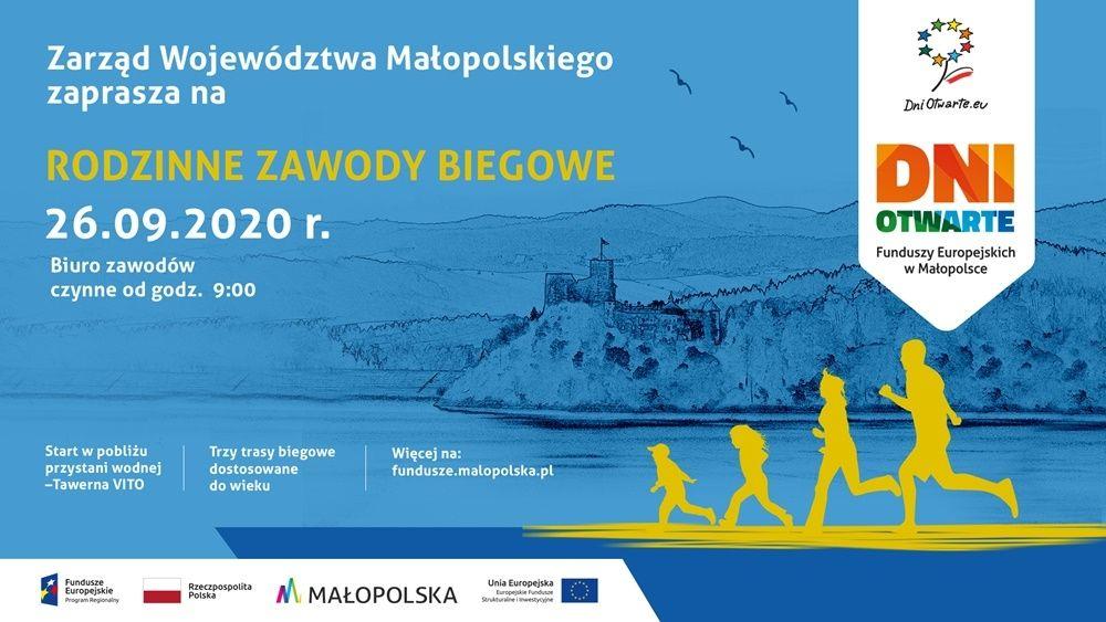 Rodzinne zawody biegowe przy brzegu Jeziora Czorsztyńskiego