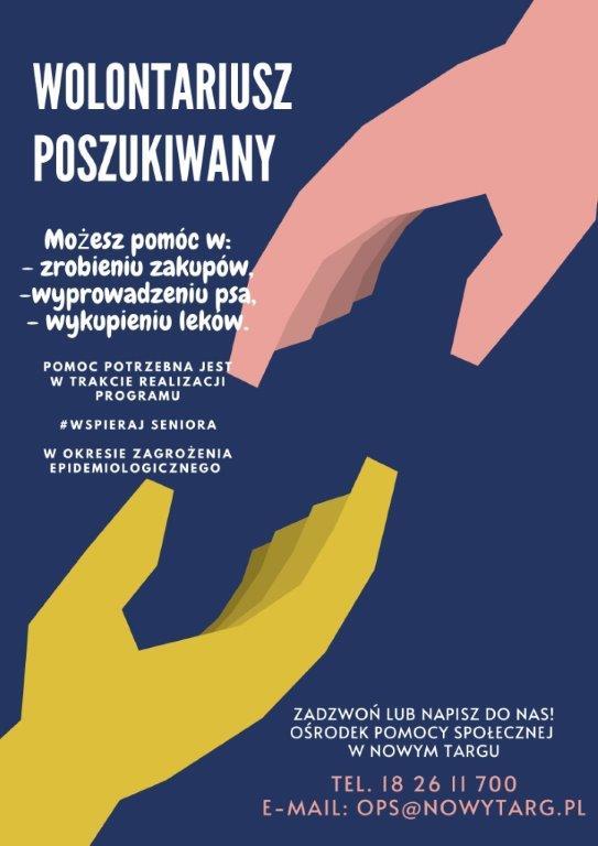 Ośrodek Pomocy Społecznej w Nowym Targu zaprasza WOLONTARIUSZY do współpracy!