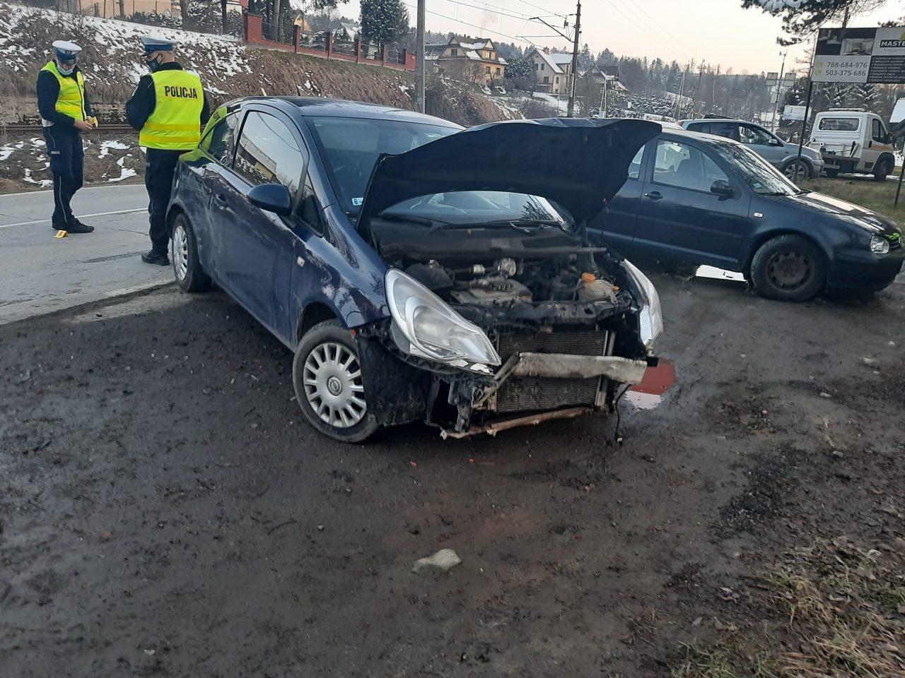 Zderzenie trzech samochodów w Chabówce