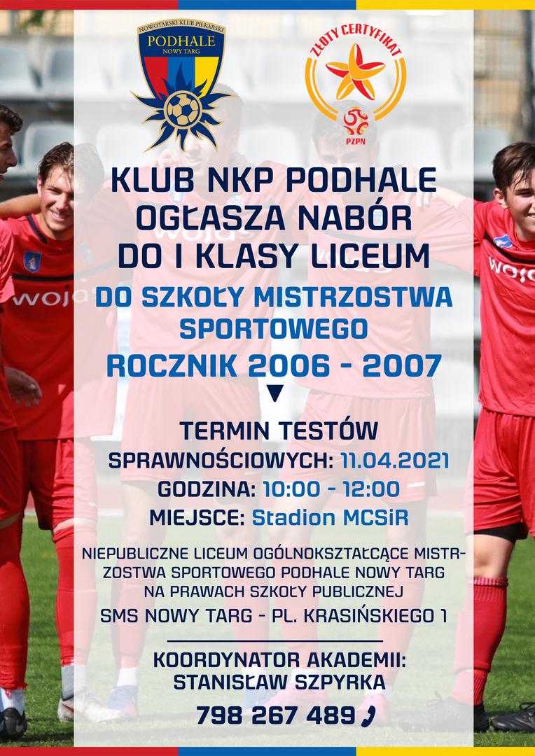 Klub NKP Podhale ogłasza nabór do I klasy liceum