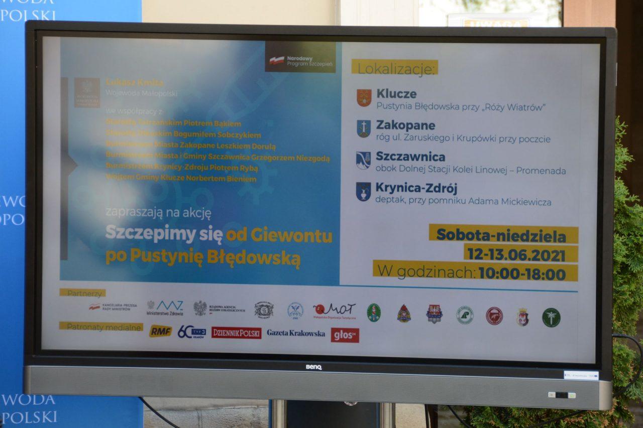 Krupówki, Szczawnica, Pustynia Błędowska - weekendowa akcja szczepień