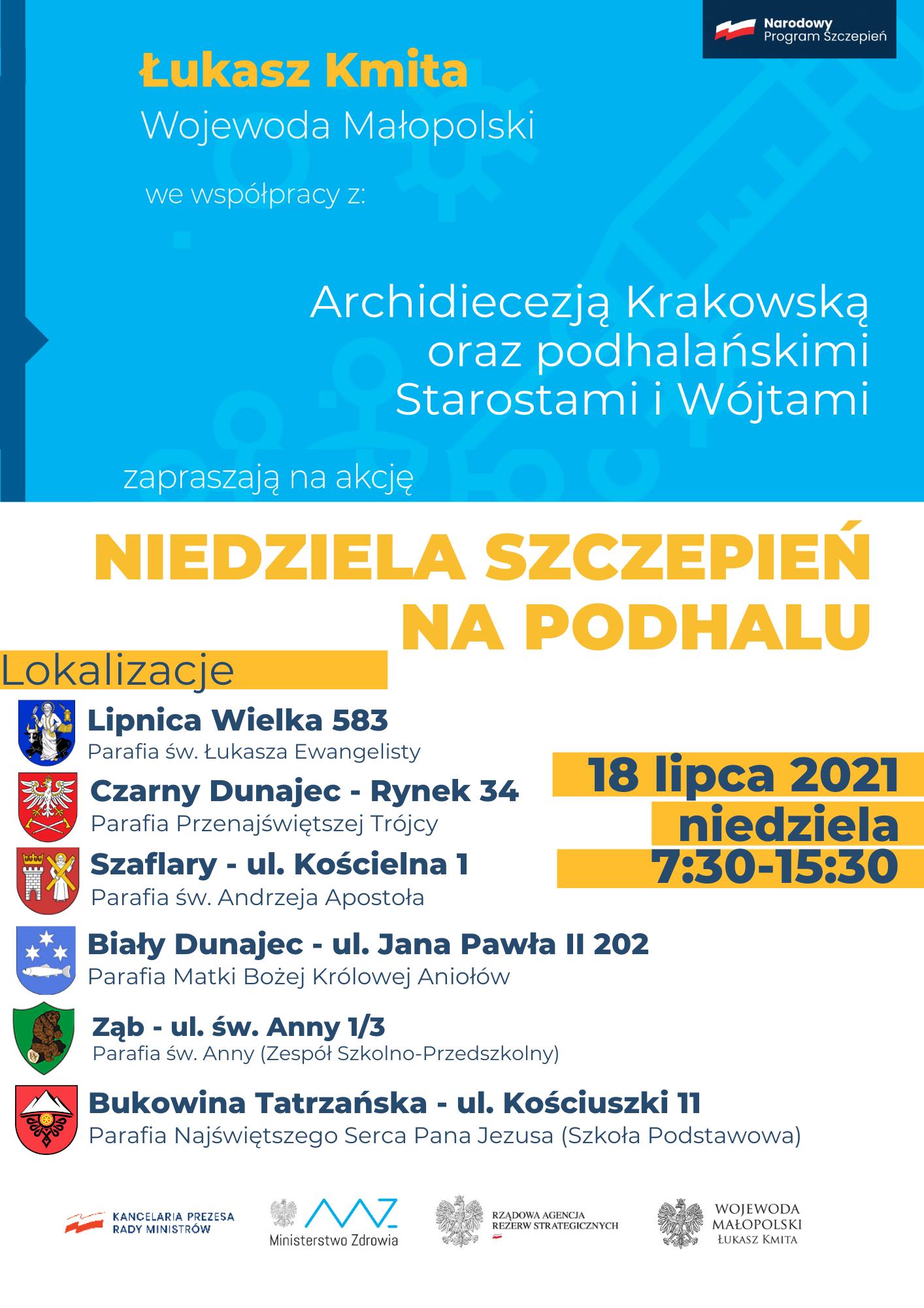 Niedziela szczepień na Podhalu - we współpracy z parafiami