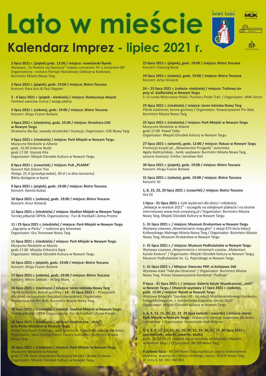 Kalendarz imprez - Lato w mieście lipiec 2021