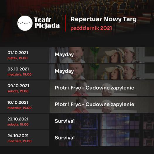 Repertuar Teatru Plejada - scena w Nowym Targu - na październik
