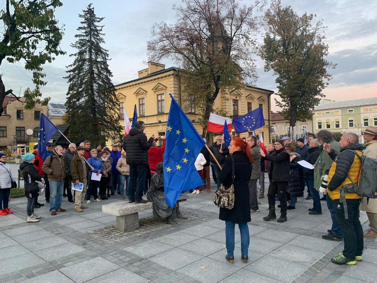 Manifestacja na rynku w Nowym Targu